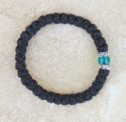 33-knot Bracelet with Accents - 2 ply with Green Bead