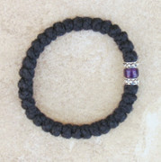 33-knot Bracelet with Accents - 2 ply with Purple Bead