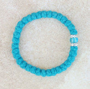 33-knot Bracelet with Accents - 2 ply Teal Blue