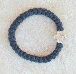 33-knot Bracelet with Cross Bead - 2 ply Black