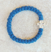 33-knot Bracelet with Cross Bead - 2 ply Cobalt Blue