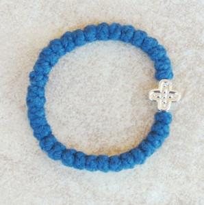 33-knot Bracelet with Cross Bead - 2 ply Cobalt Blue