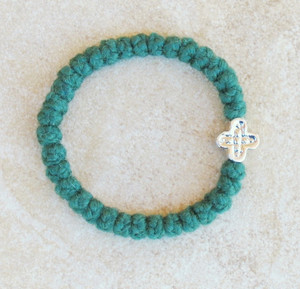 33-knot Bracelet with Cross Bead - 2 ply Forest Green