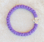 33-knot Bracelet with Cross Bead - 2 ply Lavender