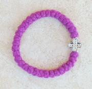 33-knot Bracelet with Cross Bead - 2 ply Magenta