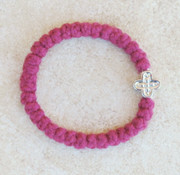 33-knot Bracelet with Cross Bead - 2 ply Red