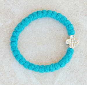 33-knot Bracelet with Cross Bead - 2 ply Teal Blue