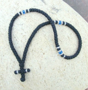 100-knot Greek with Accents Prayer Rope - 2 ply with Blue Beads