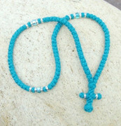 100-knot Greek with Accents - 2 ply Teal Blue