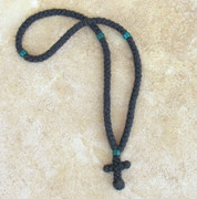 100-knot Greek Prayer Rope - 2 ply with Green Beads