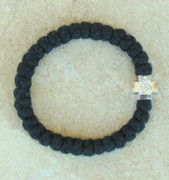 33-knot Bracelet with Cross Bead - 3 ply Black