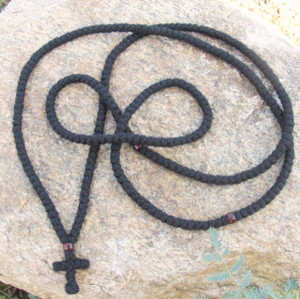 300-knot Prayer Rope - 4 ply with Garnet Beads