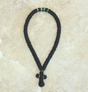 50-knot Greek with Accents - 4 ply with Green Beads
