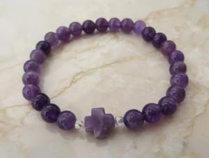 Stone Cross: Semi-Precious Amethyst Stone Bracelet