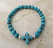 Stone Cross: Semi-Precious Stone Turquoise Bracelet