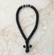 50-knot Greek with Accents - with Green Beads