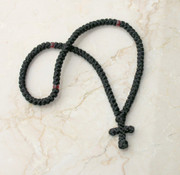 100-knot Greek Prayer Rope - with Garnet Beads