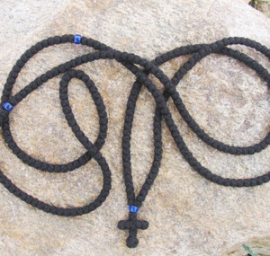 300-knot Prayer Rope - 4 ply with Blue Beads