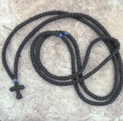 300-Knot Prayer Rope - 3 ply with Blue Beads