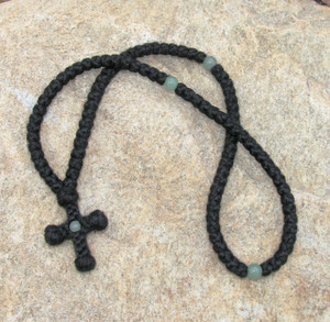 100-knot wool prayer rope with stone beads