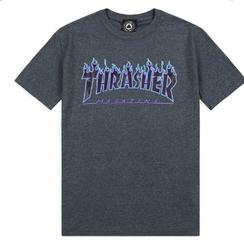 Thrasher Flame Logo Tee Charcoal/Blue