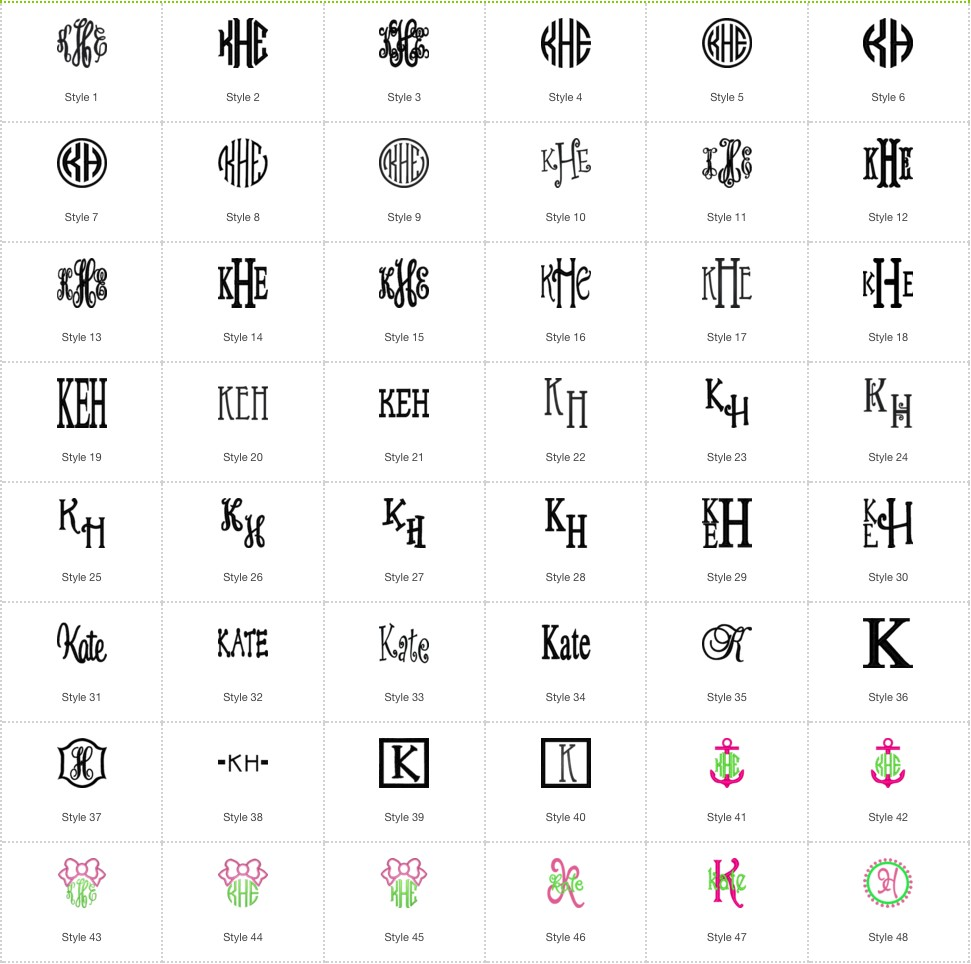 monogram styles fonts