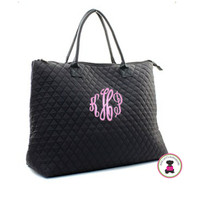 Monogrammed Weekender - Large Quilted Tote - Black-FREE SHIP/Group Discount/Gift for Her/Weekender Tote/Grad Gift/Cheer Gift / Dancer Gift