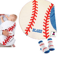 Monogrammed Minky Soft Baby BASEBALL Blanket  & Matching Pair of Socks for Baby  - FREE SHIP