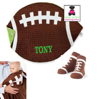 Monogrammed Minky Soft Baby  FOOTBALL Blanket & Matching Pair of Socks for Baby - FREE SHIP