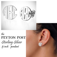 PEYTON POST - Monogram Cut Out Sterling Post Earrings - FREE SHIP