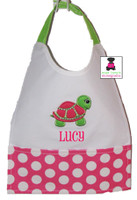 Monogrammed Wipe-off Baby Bib with Velcro Closure - Baby Turtle- FREE SHIP