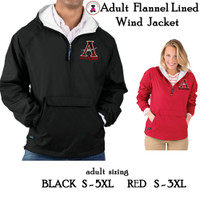ALLATOONA SOCCER Flannel Lined, PULLOVER Wind Jacket - Adult Sized