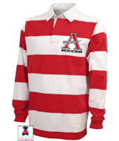 ALLATOONA SOCCER - Red/White Rugby Adult Shirt with EMBROIDERED DESIGN