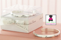 silver plated baby cuff bracelet with words stamped:  Jesus loves me this I know