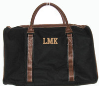 OUR TWO TONE DUFFLE -  featuring  small monogram - classic block font in kakhi