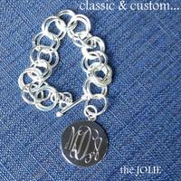 JOLIE Link Bracelet - Monogrammed German Silver  - FREE SHIP