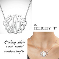 "FELICITY Necklace - Monogrammed Sterling Necklace  - 1"" Pendant - FREE SHIP"