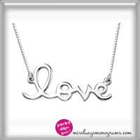 "sterling necklace ""love"""