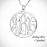 "the ARABELLA - gorgeous sterling necklace - 1 "" pendant with your mongram in a border"