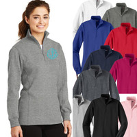 Monogrammed Ladies' Quarter Zip Pullover Sweatshirt - FREE SHIP
