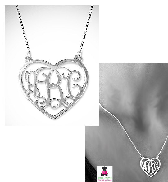 heart cut out monogrammed necklace in sterling