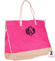 smaller monogram on our jute tote