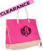 LAST CALL!!  Monogrammed Jute Tote -  Large - 2 Tone - Hot Pink / Natural - FREE SHIP