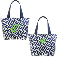 "Monogrammed  ""The Perfect""  Canvas Tote - Navy and White Greek Key - FREE SHIP"