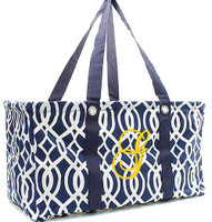 NAVY AND WHITE XL UTILITY TOTE