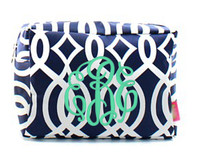 Monogrammed Large Cosmetic Case - Vine-Navy and White - FREE SHIP