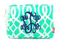 Monogrammed Large Cosmetic Case - Vine -  Mint and White  - FREE SHIP