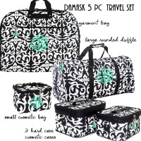 Monogrammed  5 Piece Travel Set - Damask- Black / White - FREE SHIP/Garment Bag and Duffel Travel Set/Gift for Her/Bridesmaid Gift/Grad Gift