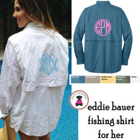 Monogrammed  Eddie Bauer Fishing Shirt for Her - LONG Sleeve - FREE SHIP