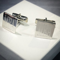 Monogrammed Men's Sterling Cuff Links  - FREE SHIP